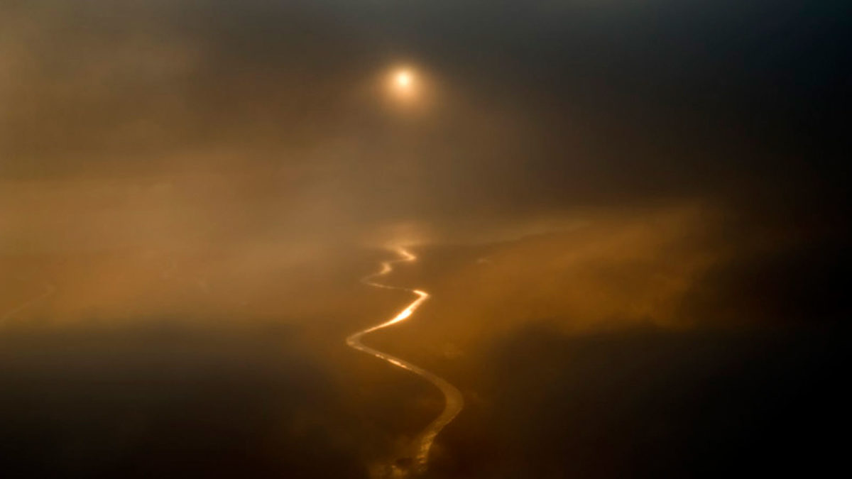 River in hazy sun