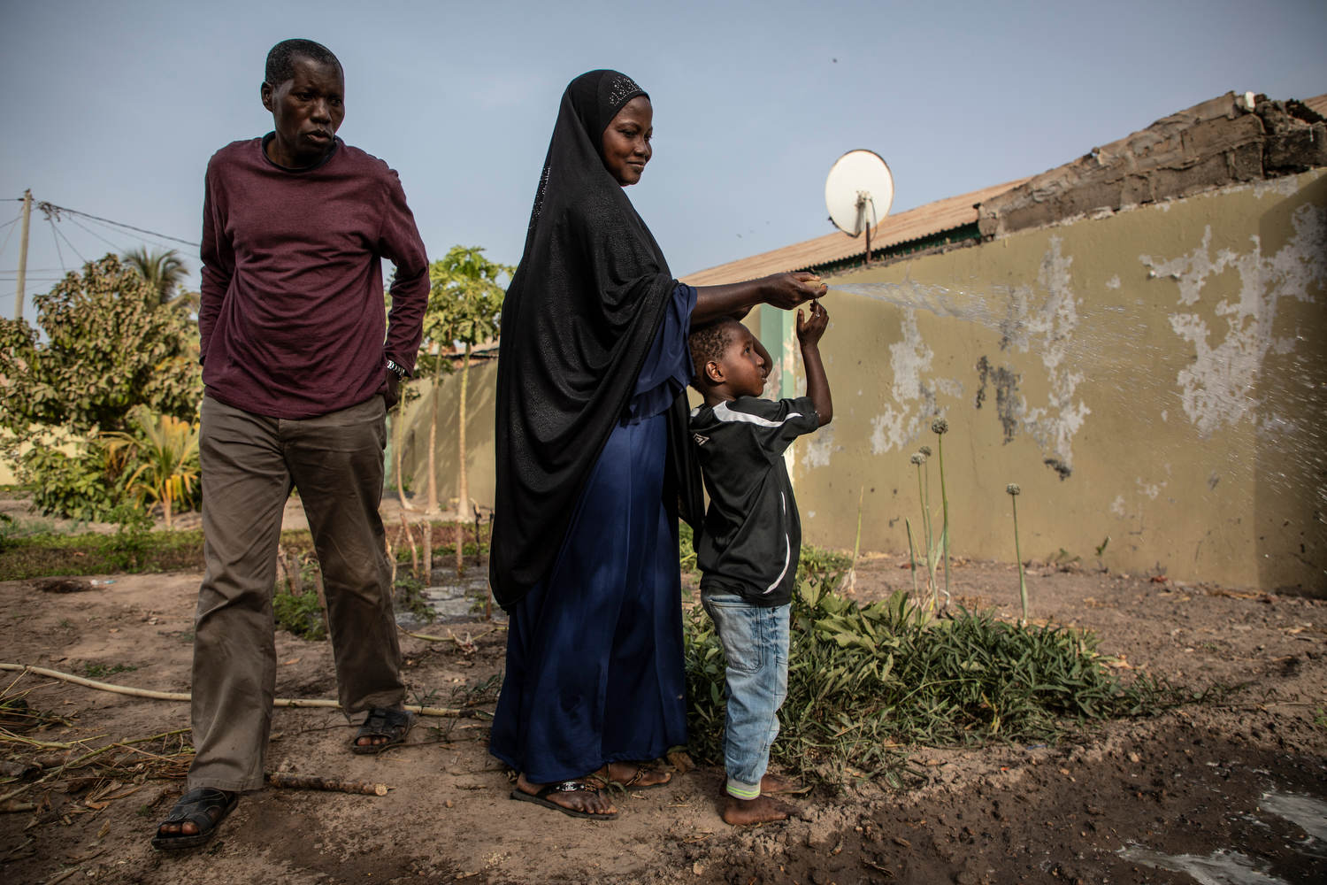 The Bah family rely on water from an untreated borehole